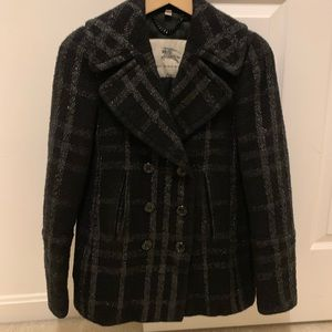 Authentic Burberry Check Pea Coat